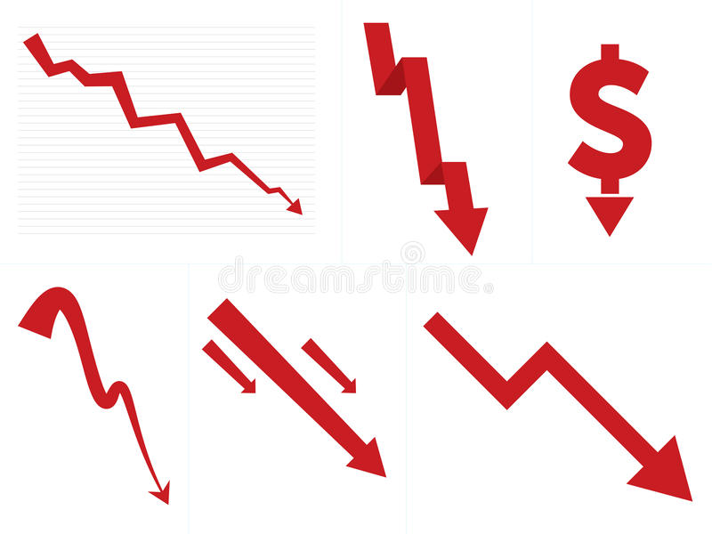 Stock Market Down/Crash Arrows. Collection of stock market down and crash indicators. Includes chart based, stylistic, 3D paper arrow, and more royalty free illustration