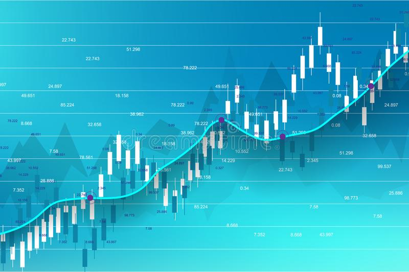 Stock market and exchange. Business Candle stick graph chart of stock market investment trading. Stock market data. Bullish point, Trend of graph. Vector stock illustration