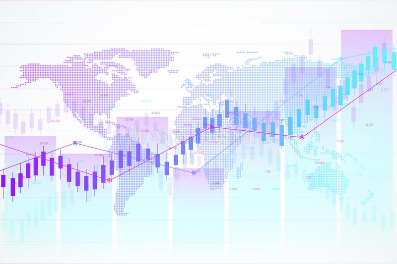 Stock market and exchange. Candle stick graph chart of stock market investment trading. Stock market data. Bullish point. Trend of graph. Vector illustration royalty free illustration