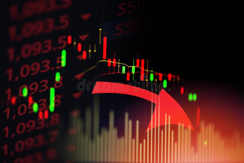 Stock market exchange loss trading graph analysis investment indicator business graph charts financial board display candlestick. Stock market exchange loss royalty free stock photography