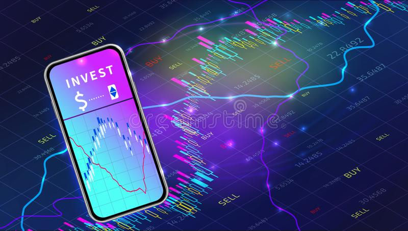 Stock market exchange mobile app concept. Forex trade graph chart design. Cryptocurrency technology. Mobile banking or investment online. Financial data stock illustration