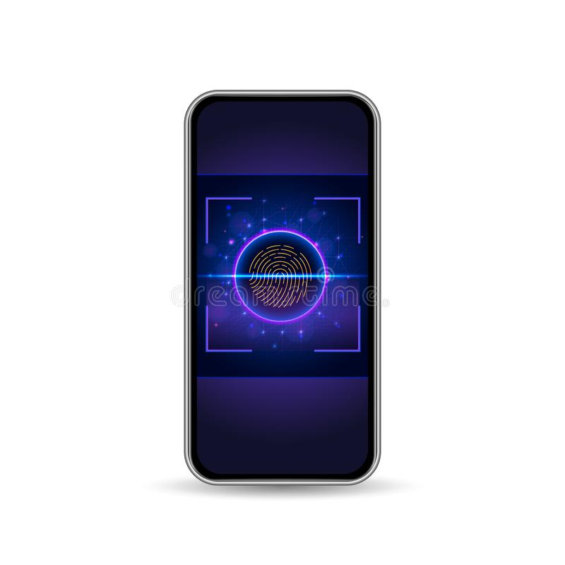 Online authorization by fingerprint scan through mobile app interface. Vector illustration royalty free illustration