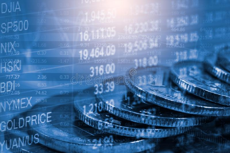 Stock market or forex trading graph and candlestick chart suitab stock images