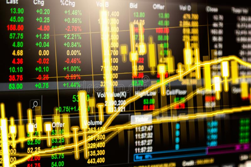 Stock market or forex trading graph and candlestick chart suitable for financial investment concept. Economy trends background stock photography