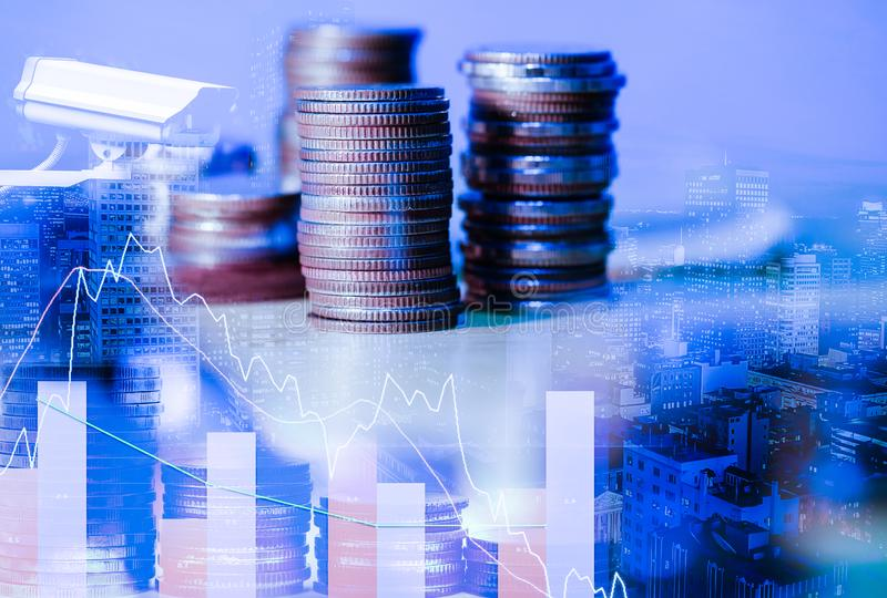 Stock market or forex trading graph and candlestick chart suitable for financial investment concept. The business plan at the meet royalty free stock images