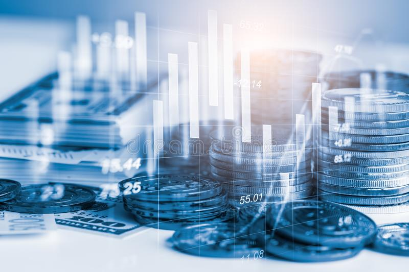Stock market or forex trading graph and candlestick chart suitable for financial investment concept. Economy trends background royalty free stock images