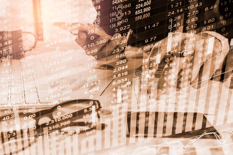 Stock market or forex trading graph and candlestick chart suitable for financial investment concept. Economy trends background for. Business idea and all art royalty free stock image