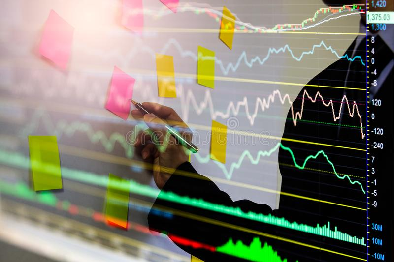 Stock market or forex trading graph and candlestick chart suitable for financial investment concept. Economy trends background for. Business idea and all art stock image