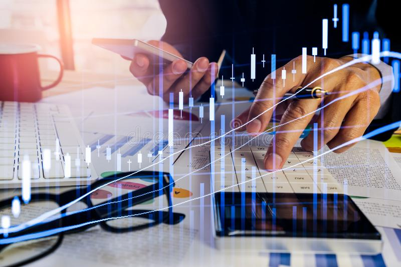 Stock market or forex trading graph and candlestick chart suitable for financial investment concept. Economy trends background for. Business idea and all art royalty free stock photo