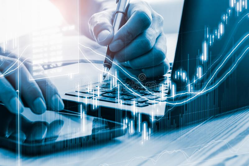 Stock market or forex trading graph and candlestick chart suitable for financial investment concept. Economy trends background for. Business idea and all art royalty free stock photos