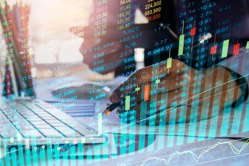 Stock market or forex trading graph and candlestick chart suitable for financial investment concept. Economy trends background for. Business idea and all art royalty free stock photography