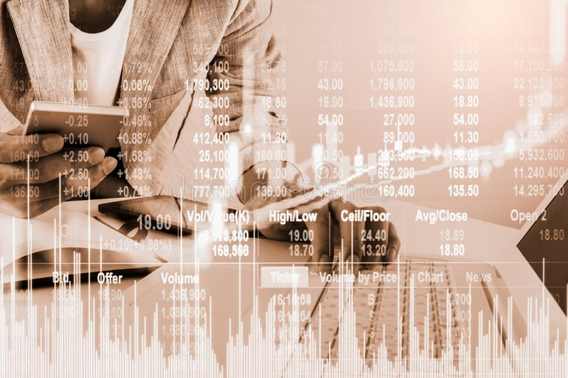 Stock market or forex trading graph and candlestick chart suitable for financial investment concept. Economy trends background for. Business idea and all art royalty free stock images