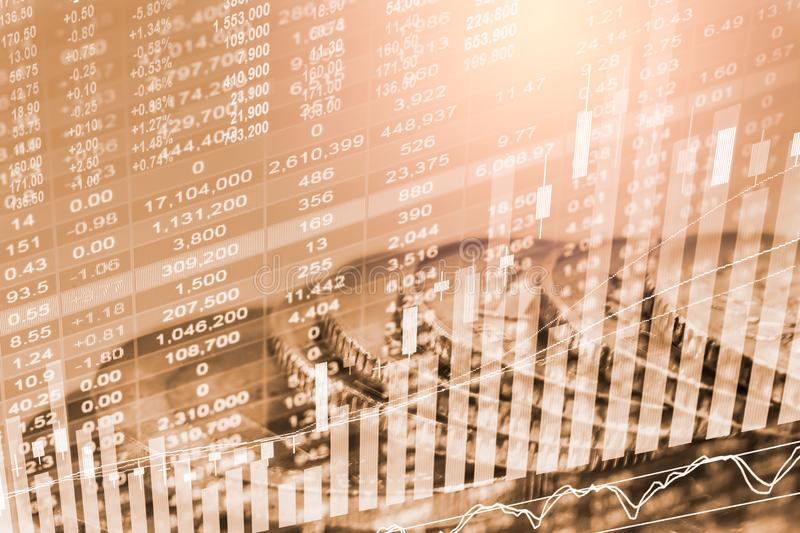 Stock market or forex trading graph and candlestick chart suitable for financial investment concept. Economy trends background for. Business idea and all art stock photography