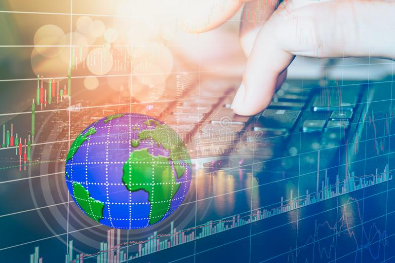 Stock market or forex trading graph and candlestick chart suitable for financial investment concept. royalty free stock images