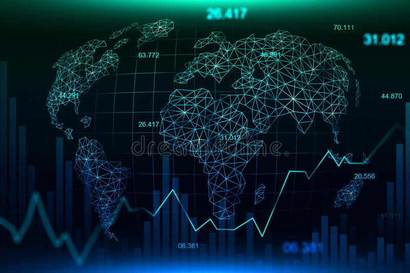 Stock market or forex trading graph in futuristic concept royalty free illustration