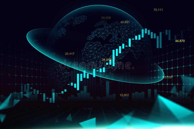 Stock market or forex trading graph in futuristic concept royalty free stock photo