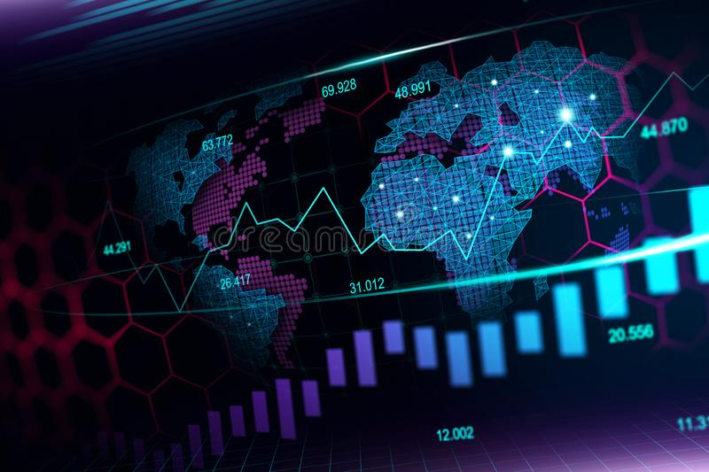 Stock market or forex trading graph in futuristic concept stock images