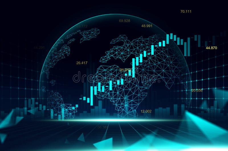 Stock market or forex trading graph in futuristic concept royalty free stock image