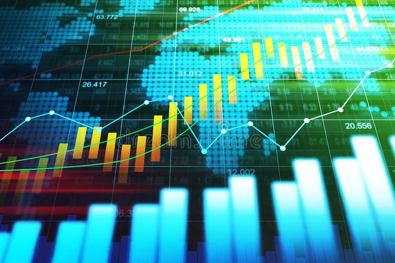 Stock market or forex trading graph in graphic concept royalty free stock images