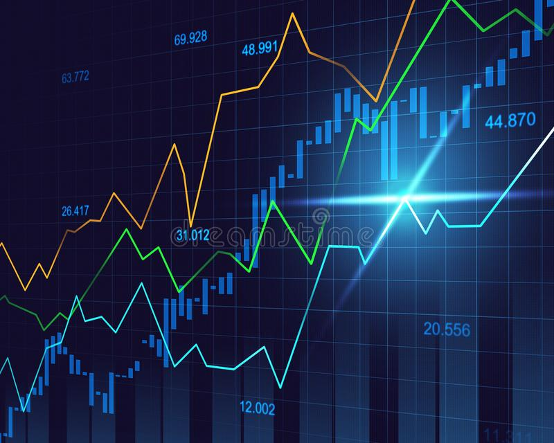 Stock market or forex trading graph in graphic concept stock illustration