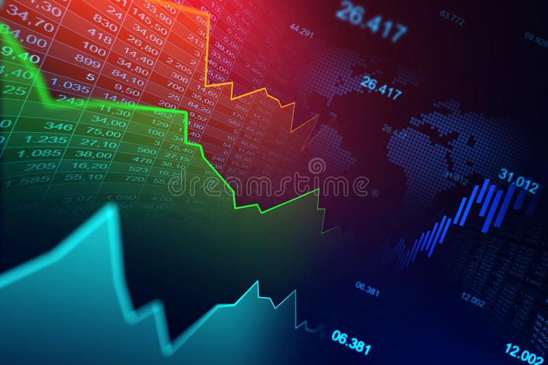 Stock market or forex trading graph in graphic concept royalty free stock photo