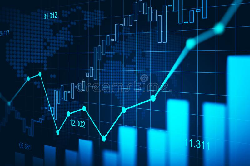 Stock market or forex trading graph in graphic concept stock photography
