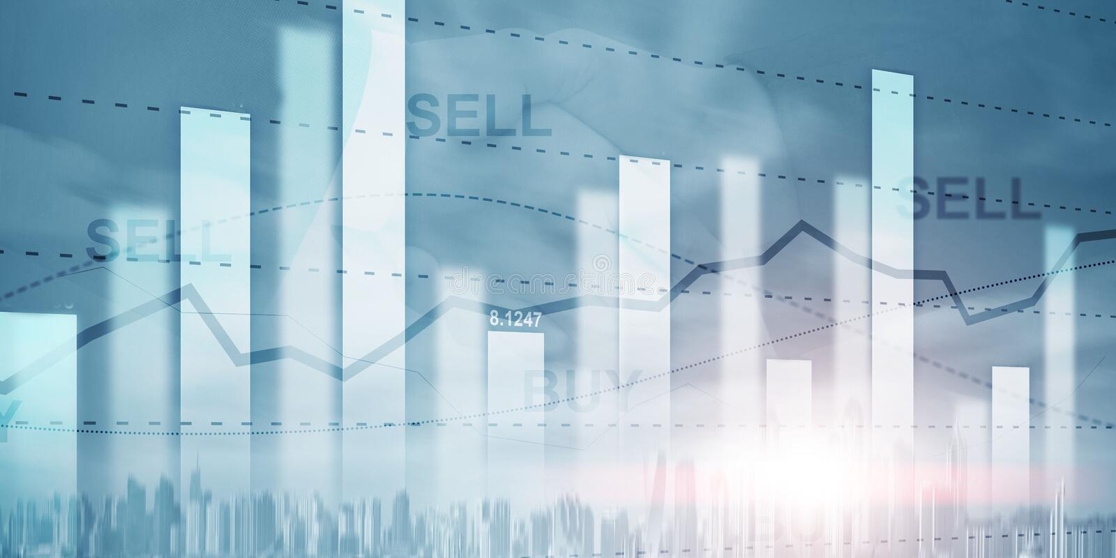 Stock market or forex trading graph in graphic double exposure. Abstract business finance background vector illustration