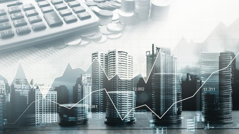 Stock market or forex trading graph in graphic double exposure c stock images