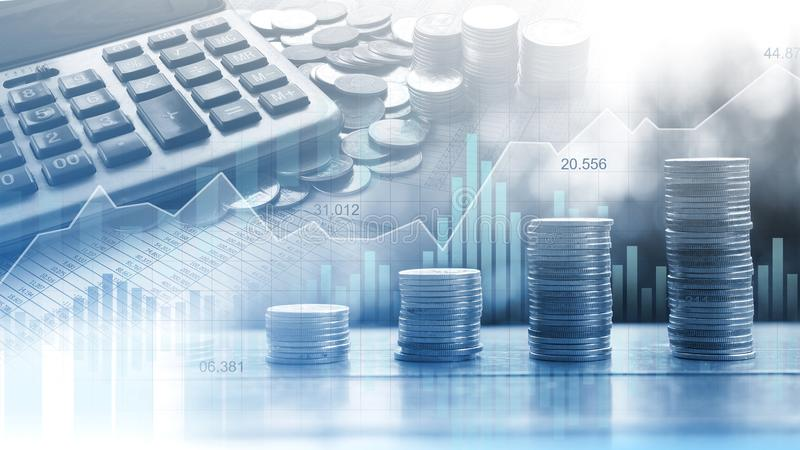 Stock market or forex trading graph in graphic double exposure c royalty free stock image