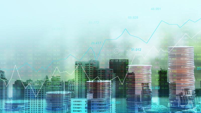 Stock market or forex trading graph in graphic double exposure c royalty free stock photos