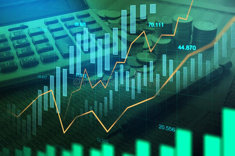 Stock market or forex trading graph in graphic double exposure royalty free stock photos