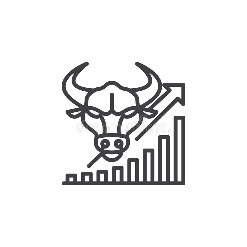 Stock market going up line icon, outline vector sign, linear pictogram isolated on white. vector illustration