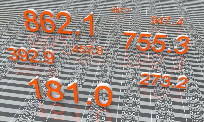 Stock market graph. Big numbers stock illustration