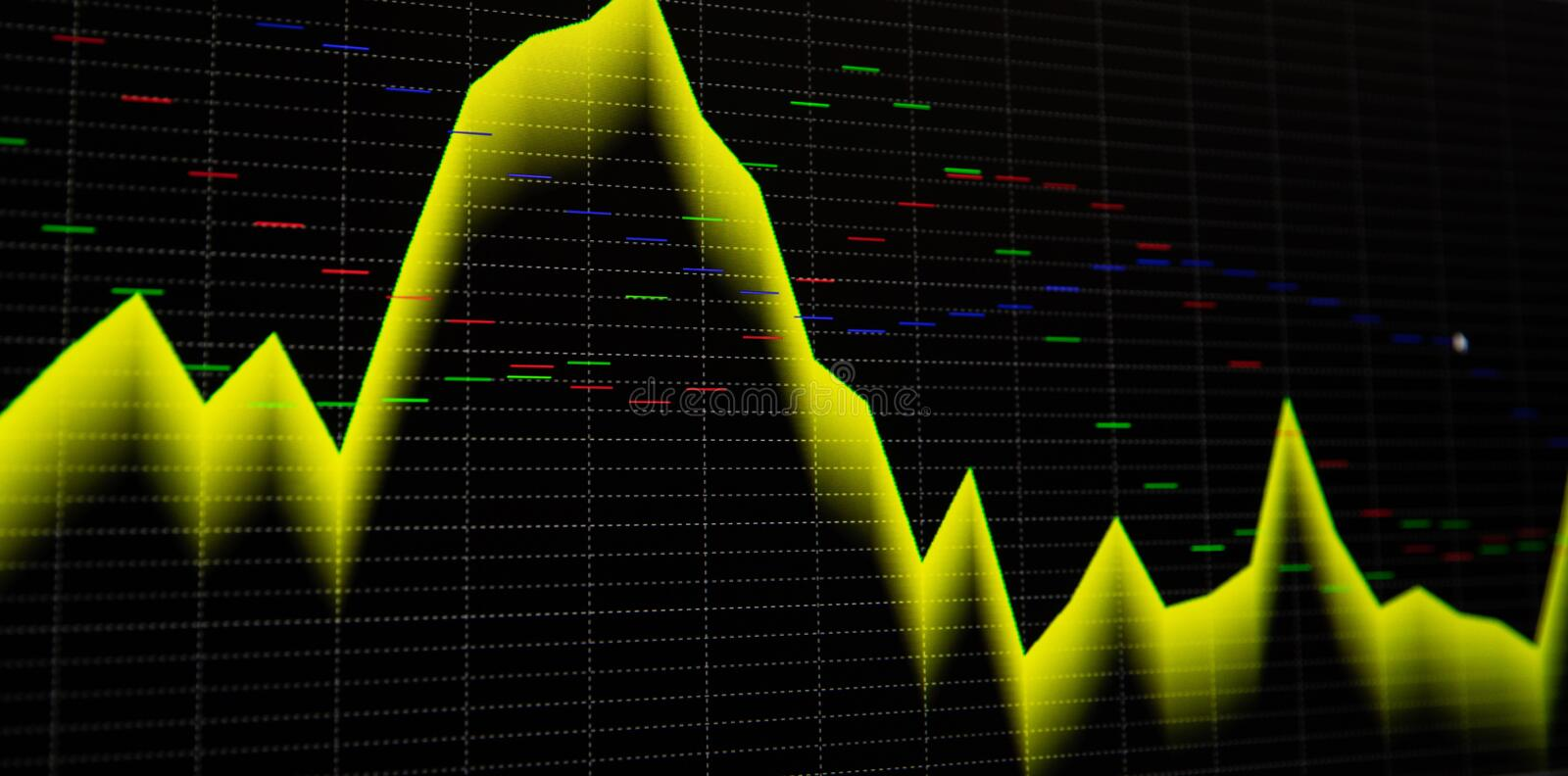 Stock market graph and bar chart price display. Display of quotes pricing graph visualization. Abstract financial background trade royalty free illustration