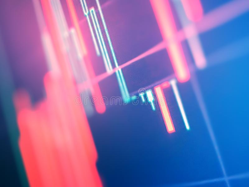 Stock market graph and bar chart price display. Data on live computer screen royalty free stock image