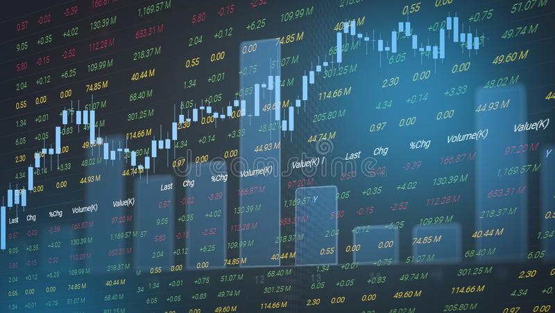 Stock market graph business / forex trading and candlestick analysis investment indicator of financial board display double royalty free stock photo
