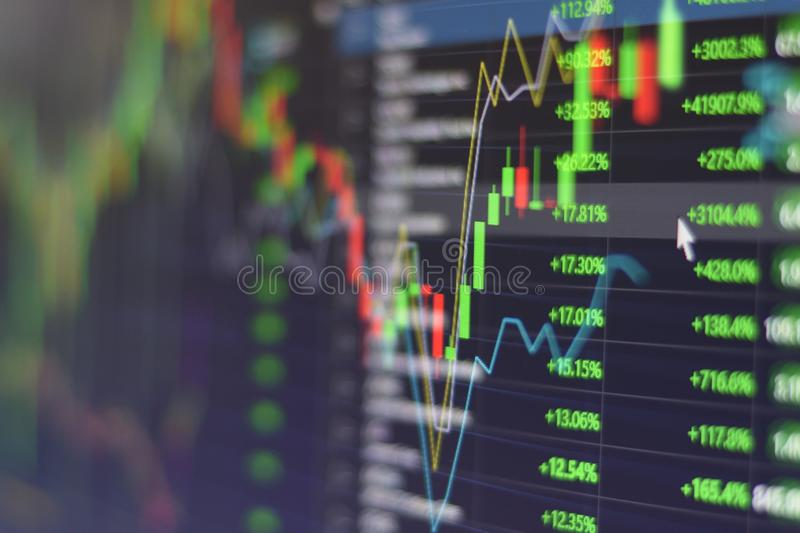 Stock market graph chart with indicator investment trading stock exchange trading market monitor screen close up.  stock photo