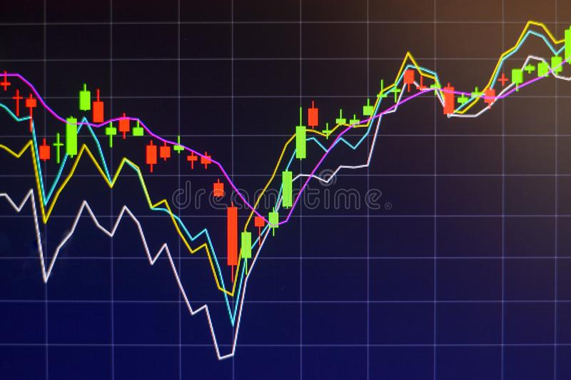 Stock market graph chart investment trading stock exchange trading market monitor screen. Close up stock photo