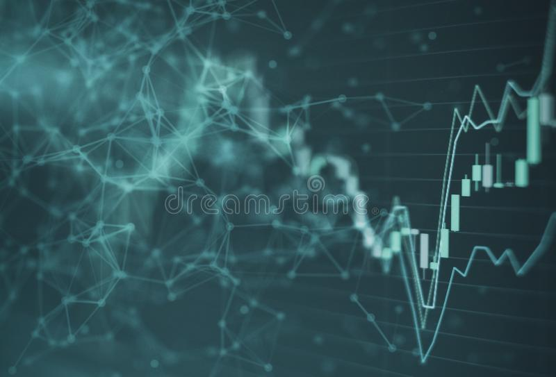 Stock market graph chart investment trading stock exchange with network line many various factors can cause a stock to stock photos
