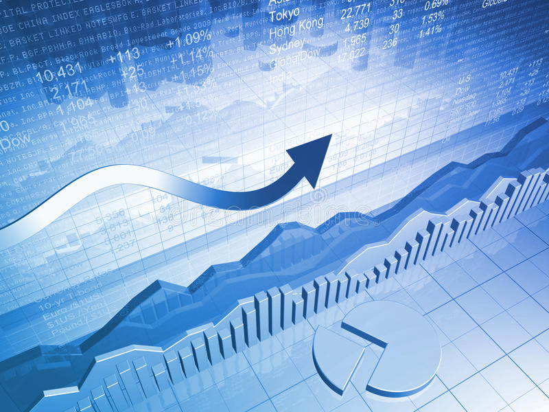 Stock Market Graph with Pie Chart and Up Arrow vector illustration