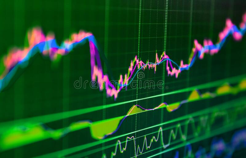 Stock market graph with screen. Stock market prices show on display. Stock market data information. Stock market charts. Display royalty free stock photo