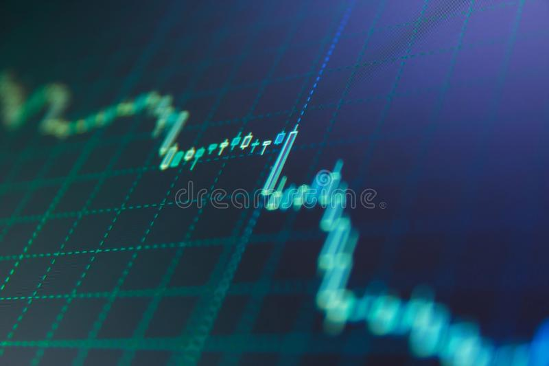 Stock market graph on the screen. royalty free stock photo