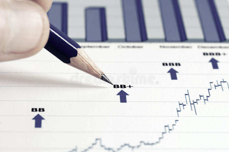 Stock market graphs analysis royalty free stock photo