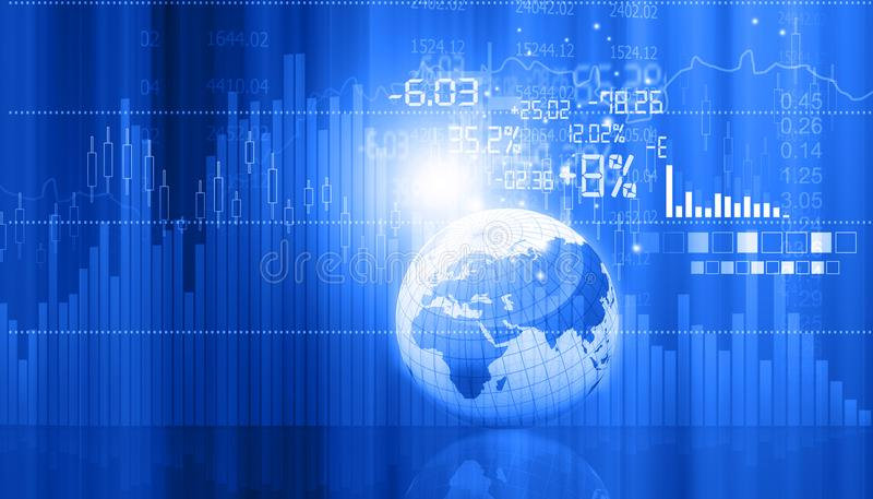 Stock market graphs and charts with globe royalty free stock photos