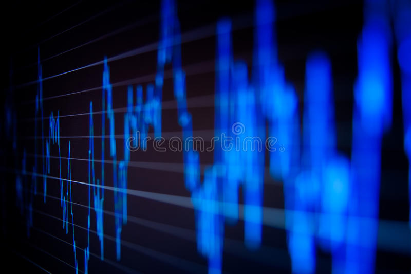 Stock market graphs on the computer monitor. royalty free stock photography
