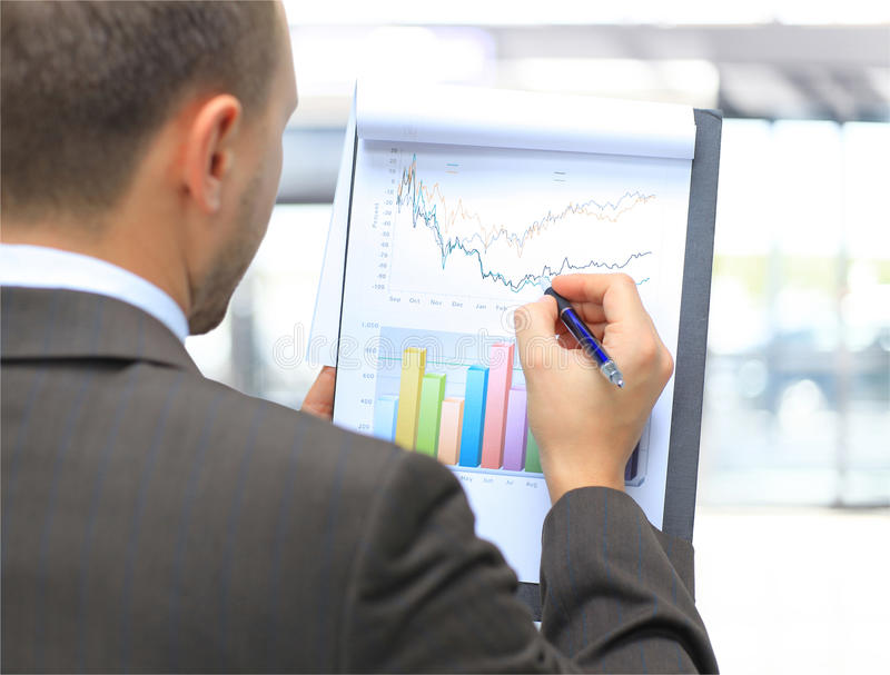 Stock market graphs. Monitoring. Marketing concept stock photo