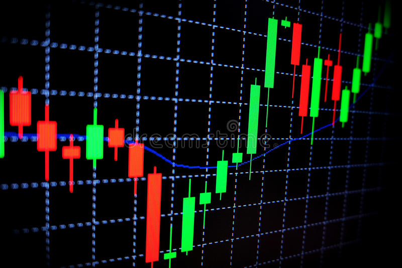 Stock market green and red graph with black background , Forex market , trading. stock image