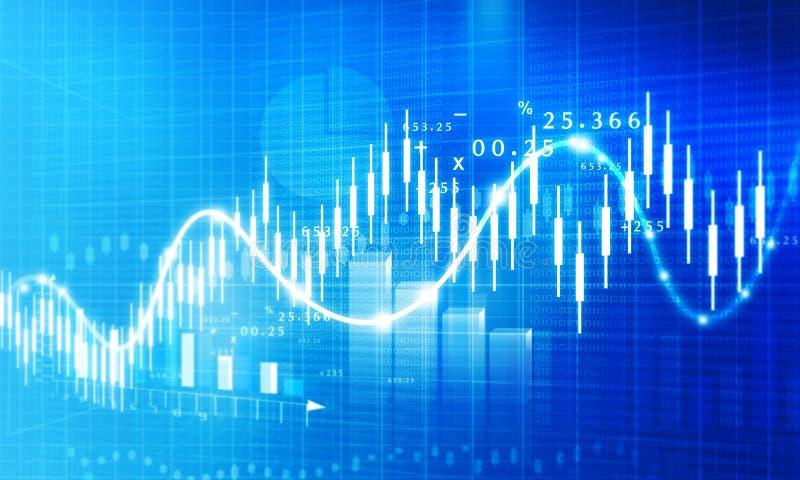 Stock market growth chart. Digital illustration stock illustration