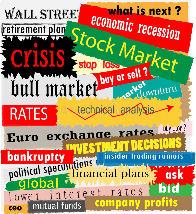 Stock market headlines. Various stock market headlines in different colours and fonts stock illustration