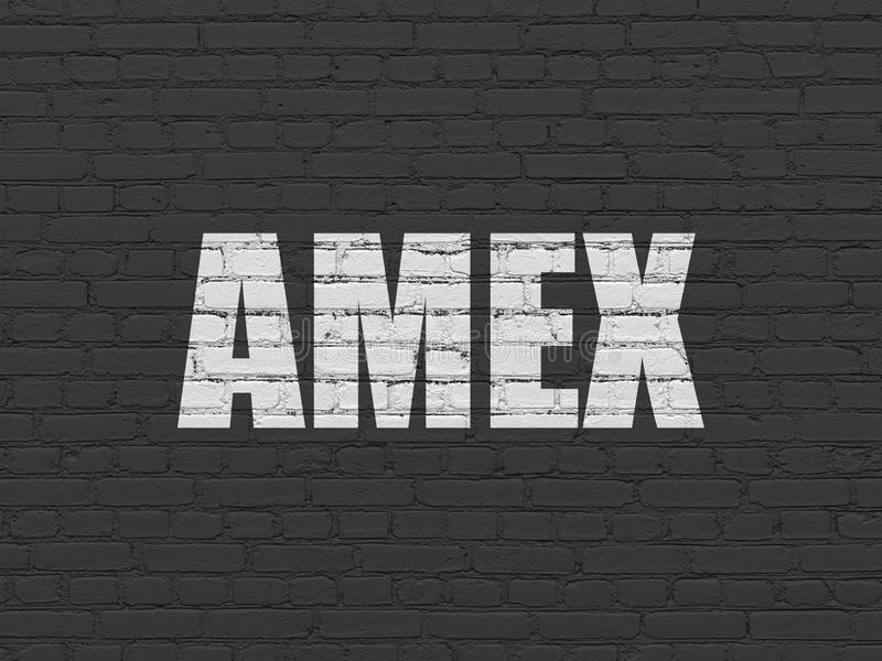 Stock market indexes concept: AMEX on wall background royalty free stock photography